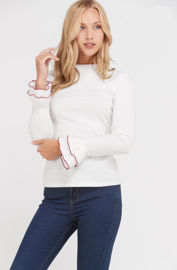 Ivory Merrow Ruffle Knit Top