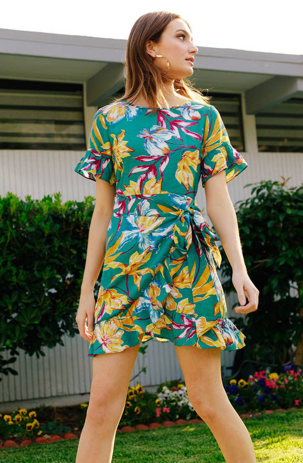 Sara Wrap Floral Mini Dress