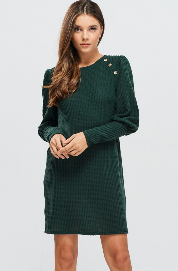 Button Detail Green Dress