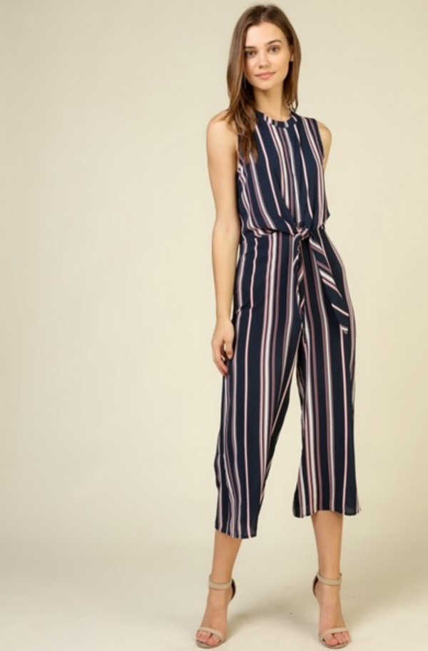 Pink + Navy Sleeveless Jumpsuit