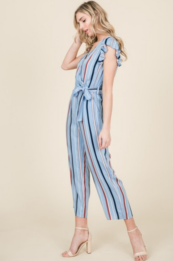 Ruffle Short Sleeve Stripe Jumpsuit