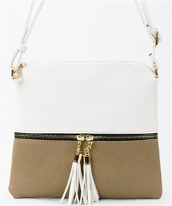 White + Taupe Color Block Crossbody Purse