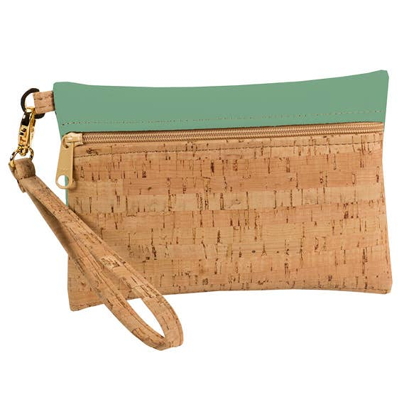 Rustic Cork + Faux Leather Wristlet
