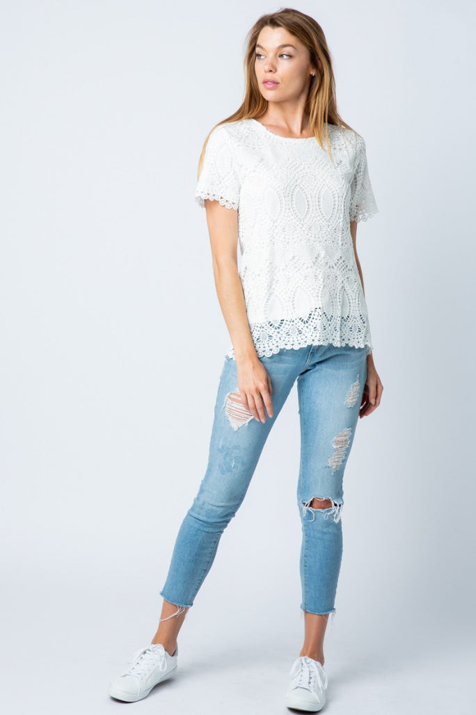 White Crochet Lace Top
