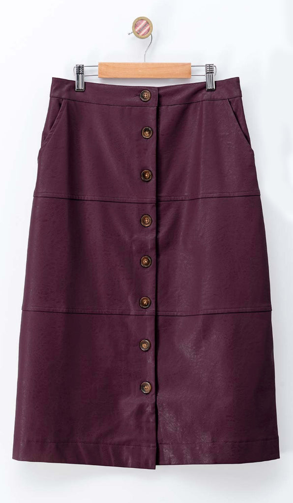 Faux Leather Wine Midi Skirt