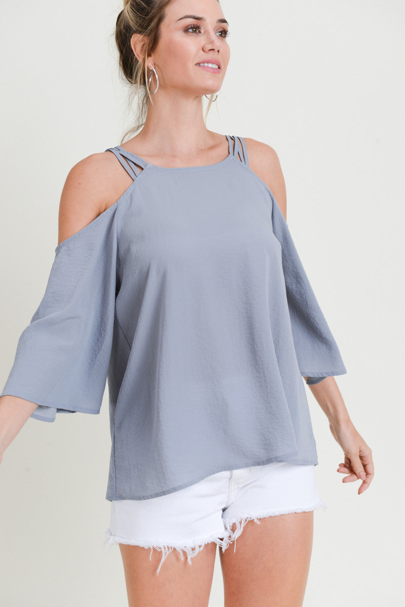 Ash Weave Strap Cold Shoulder Top