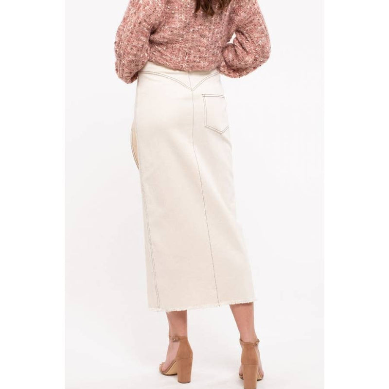 Cream Cotton Stretch Midi Skirt