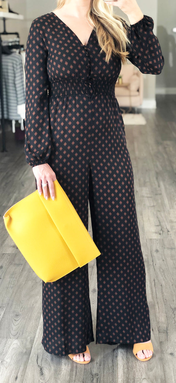 Black Long Sleeve Patterned Jumpsuit