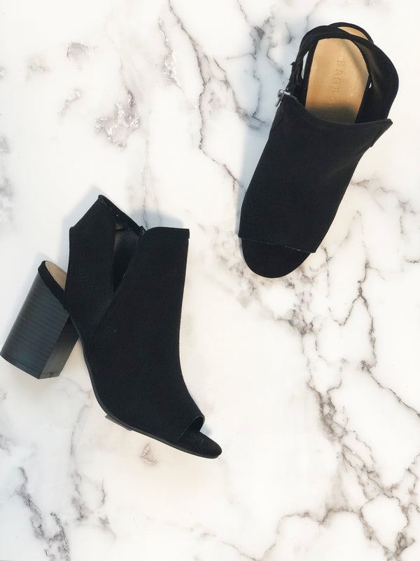 Black Casual Cutout Boots
