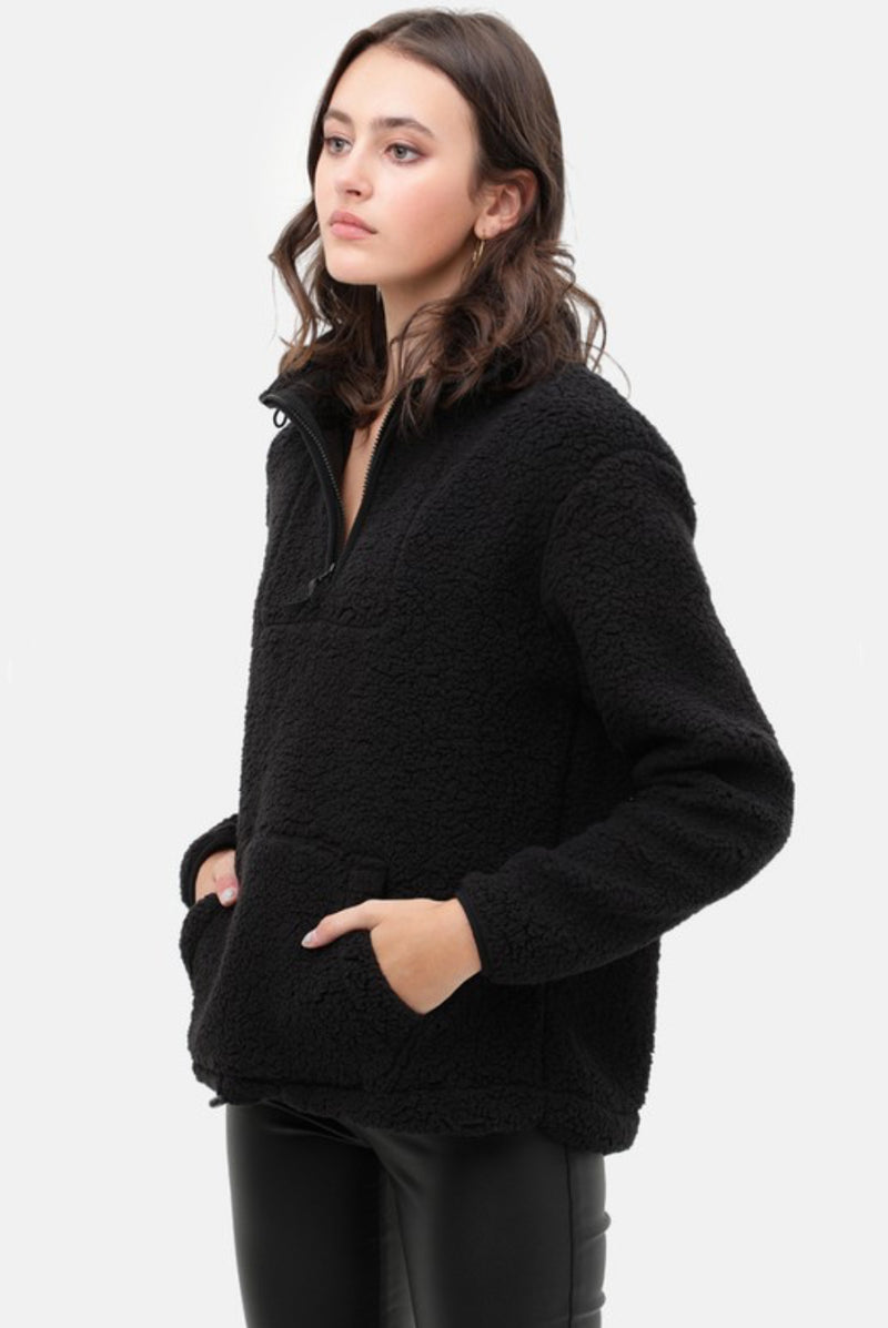 Cozy Nights Black Sherpa Pullover Sweater