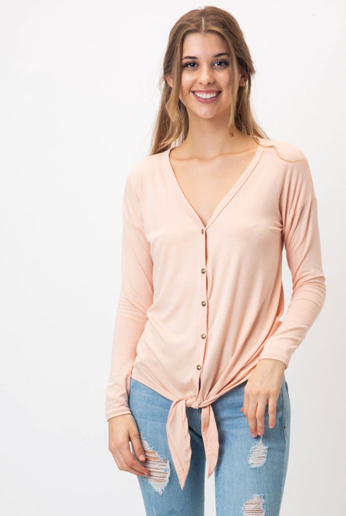 Blush Kimberly Front Tie Top