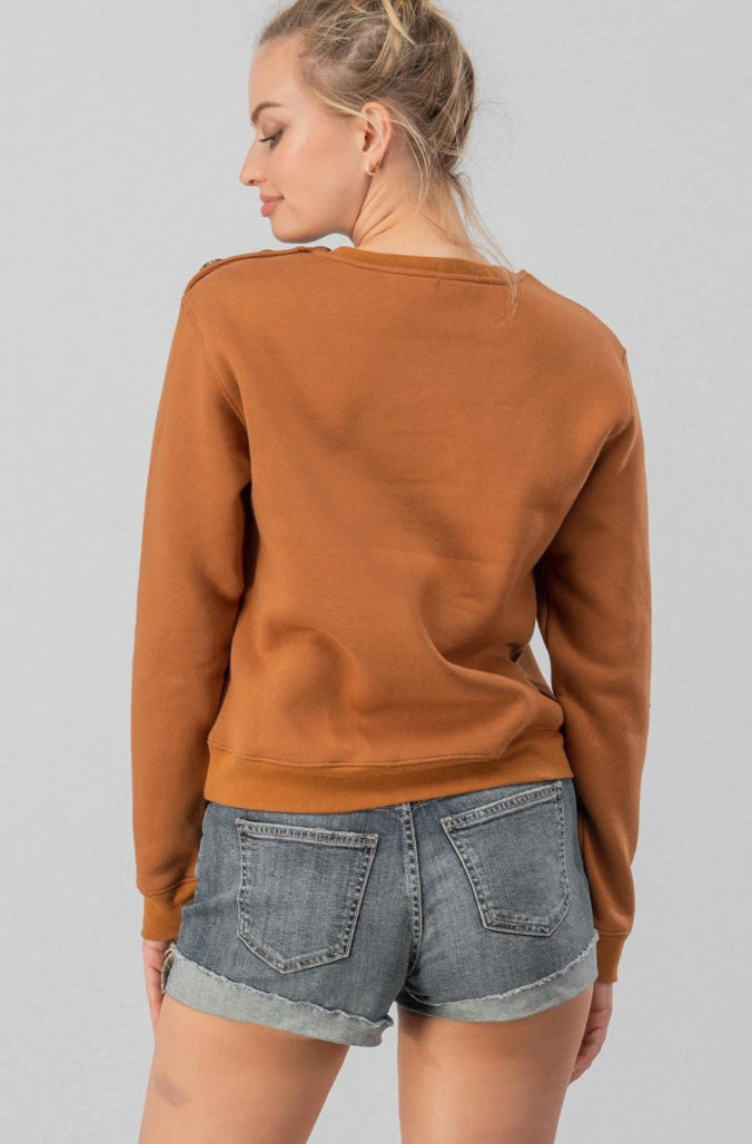 Camel Bonjour Paris Crop Sweater
