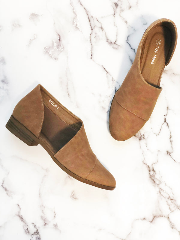 Brown Side Cutout Flats