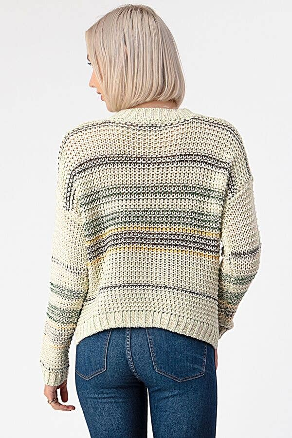 Knitted Multi-Colored Stripe Sweater