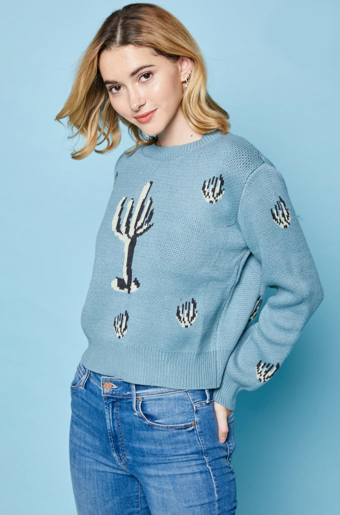 Blue Cactus Crop Sweater