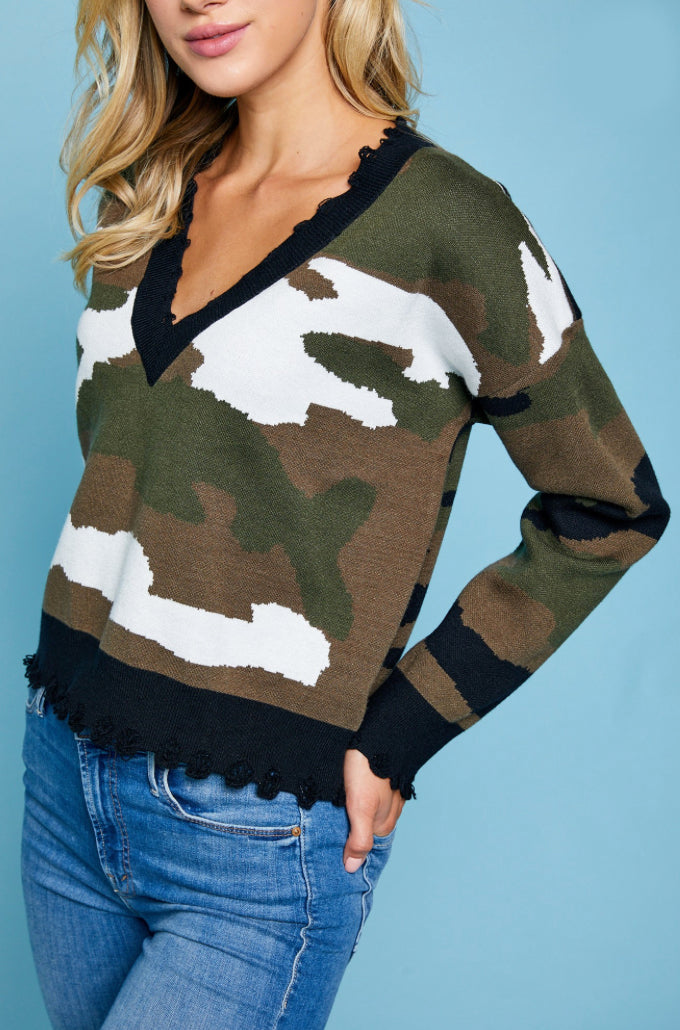Camo Crop Sweater