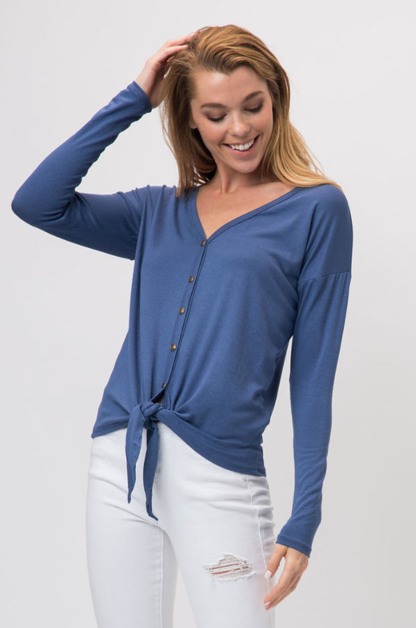 Blue Kimberly Front Tie Top
