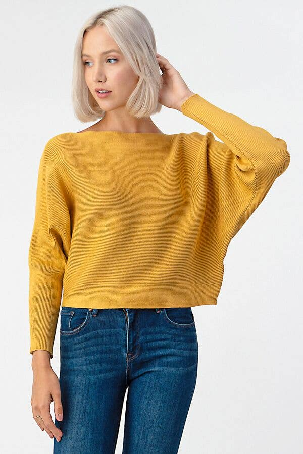 Mustard Solid Stripe Dolman Sweater
