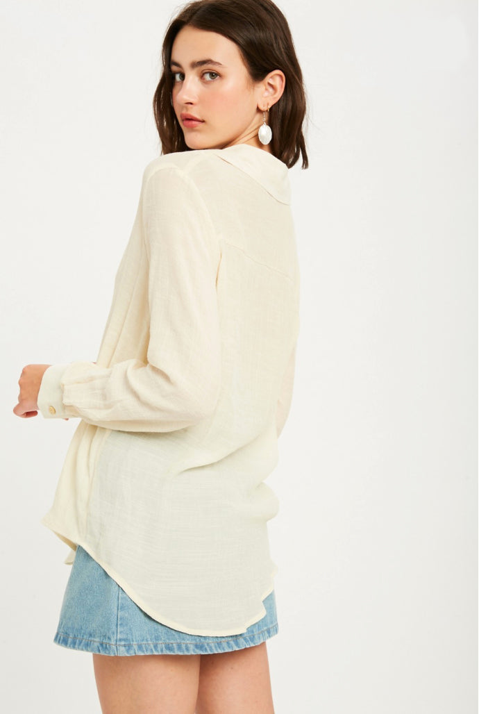 Ellen Cream Linen Button Down Top
