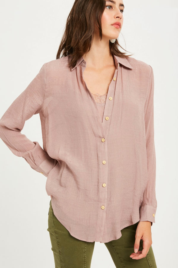 Ellen Muave Linen Button Down Top