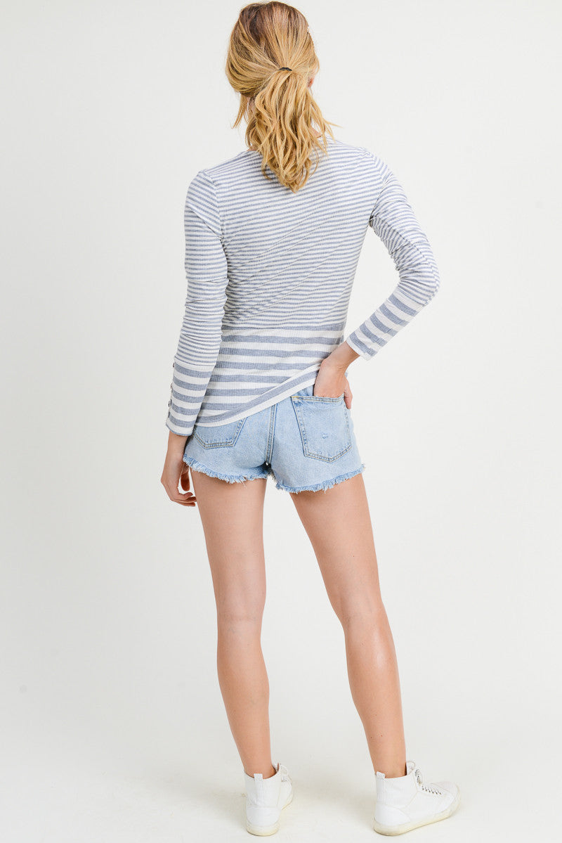Long Sleeve Stripe Gray/Ivory Top