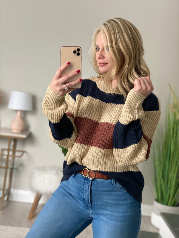 Wide Striped Long Sleeve Knit Sweater
