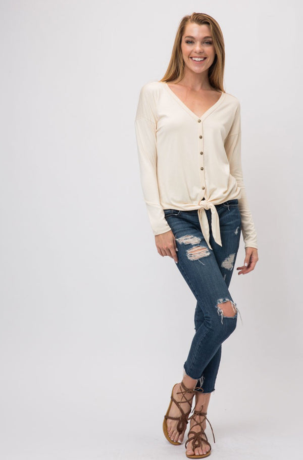 Cream Kimberly Front Tie Top