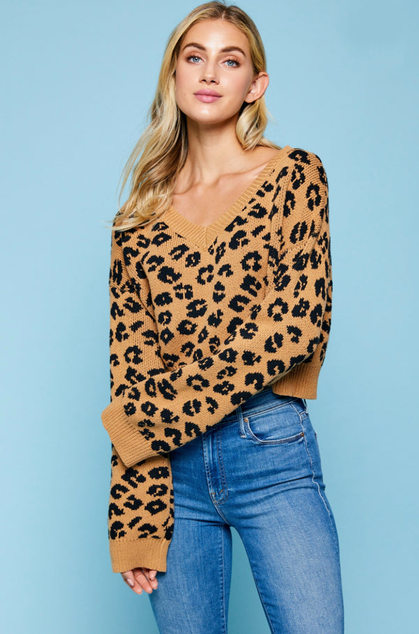 Leopard Animal Print Crop Sweater