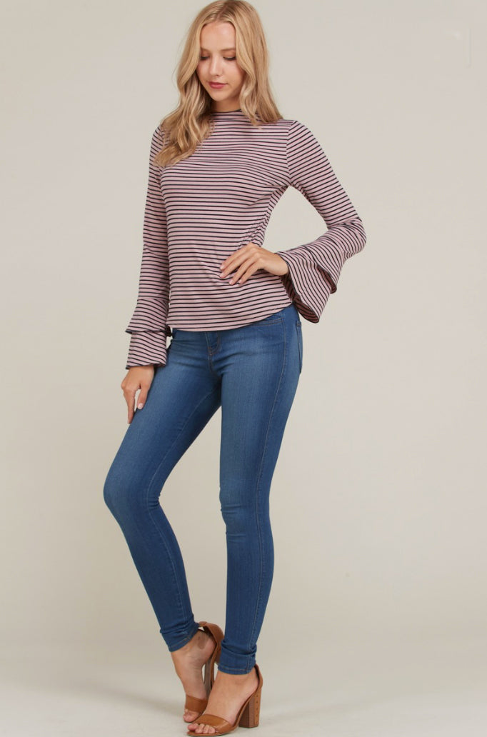Mauve Bell Sleeve Stripe Top