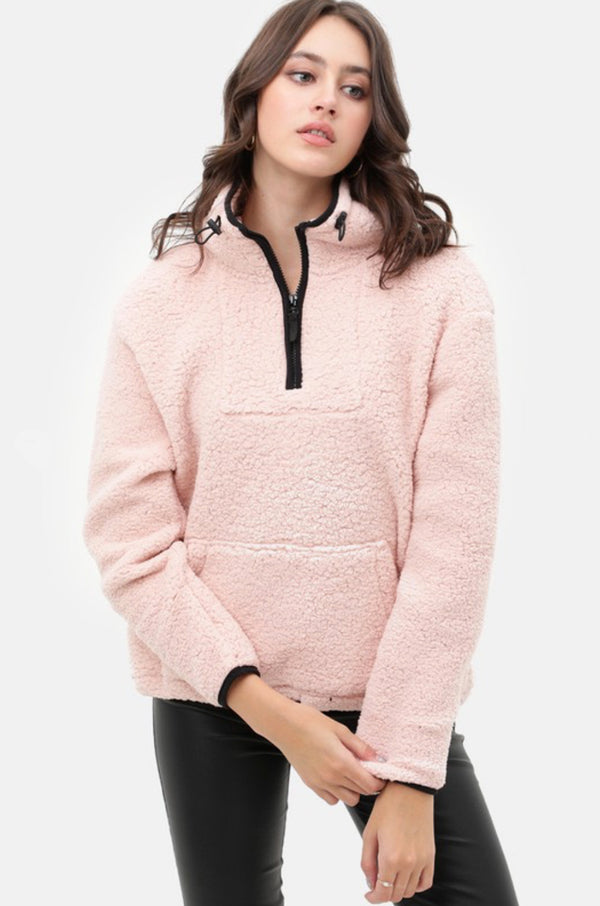 Cozy Nights Pink Sherpa Pullover Sweater