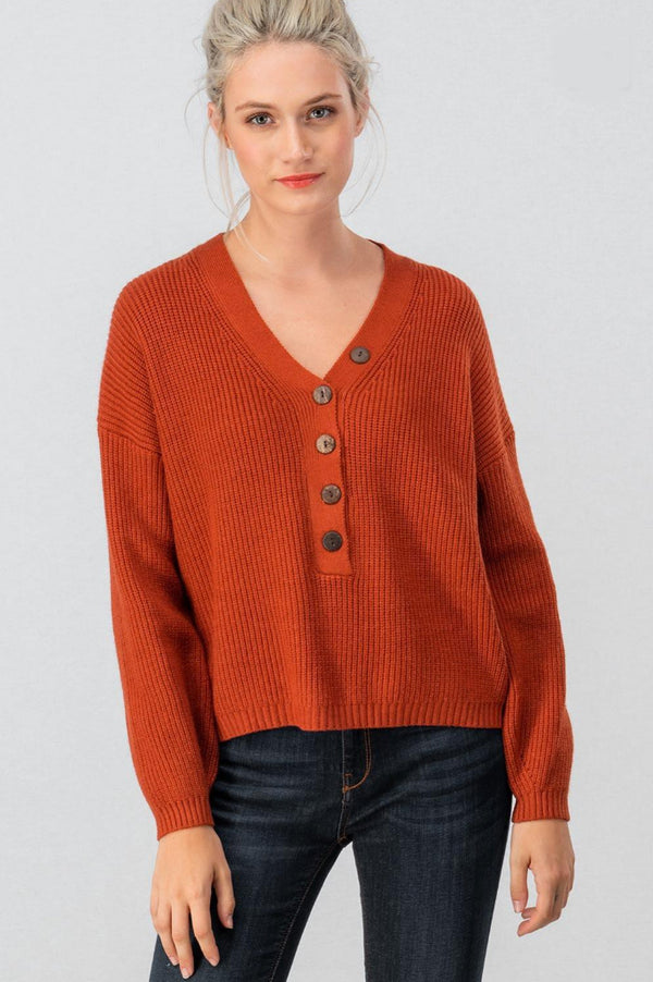 Rust Rib Knit Sweater