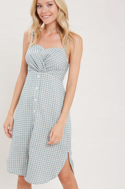Sage Checkered Midi Dress
