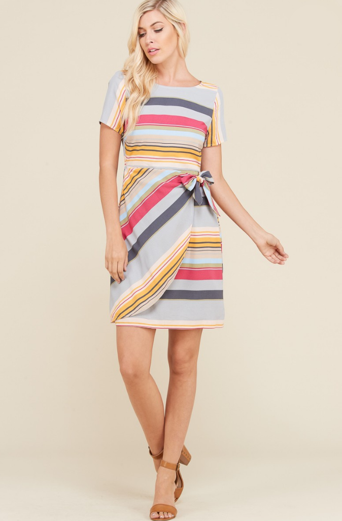 Colorful Stripe Wrap Mini Dress