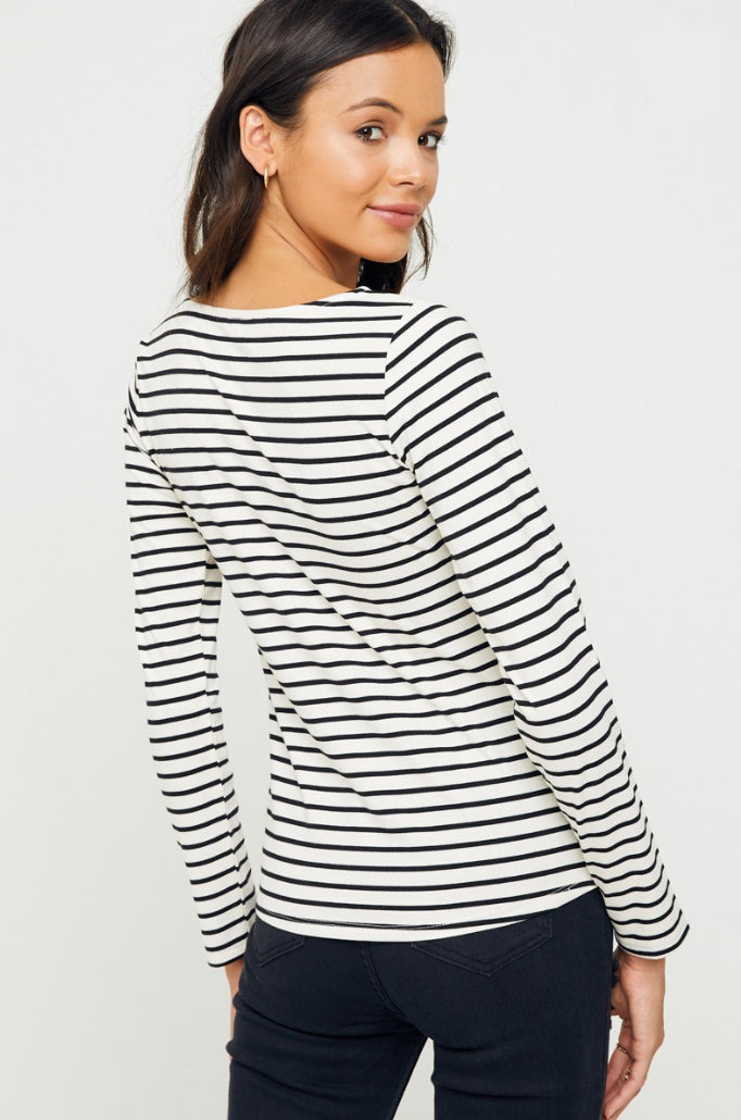 Jane Stripe Scallop Top