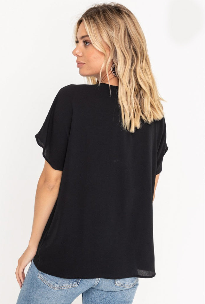 Alexandra Black Surplice Top