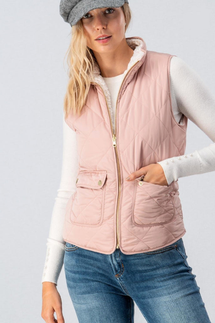 Blush Pink Reversible Puffer Vest