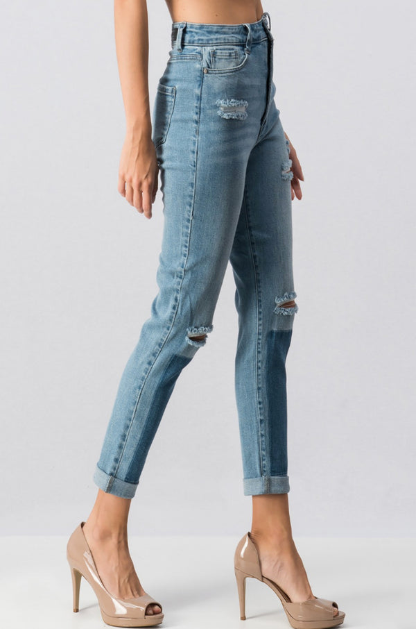 Distressed Rolled Up High Waist Jeans