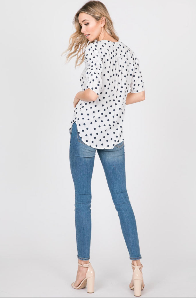 Lila Navy Dot V-Neck Blouse