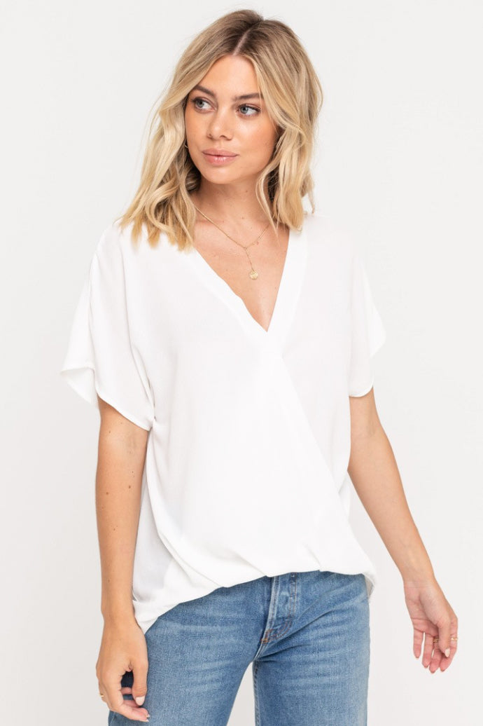 Alexandra White Surplice Top