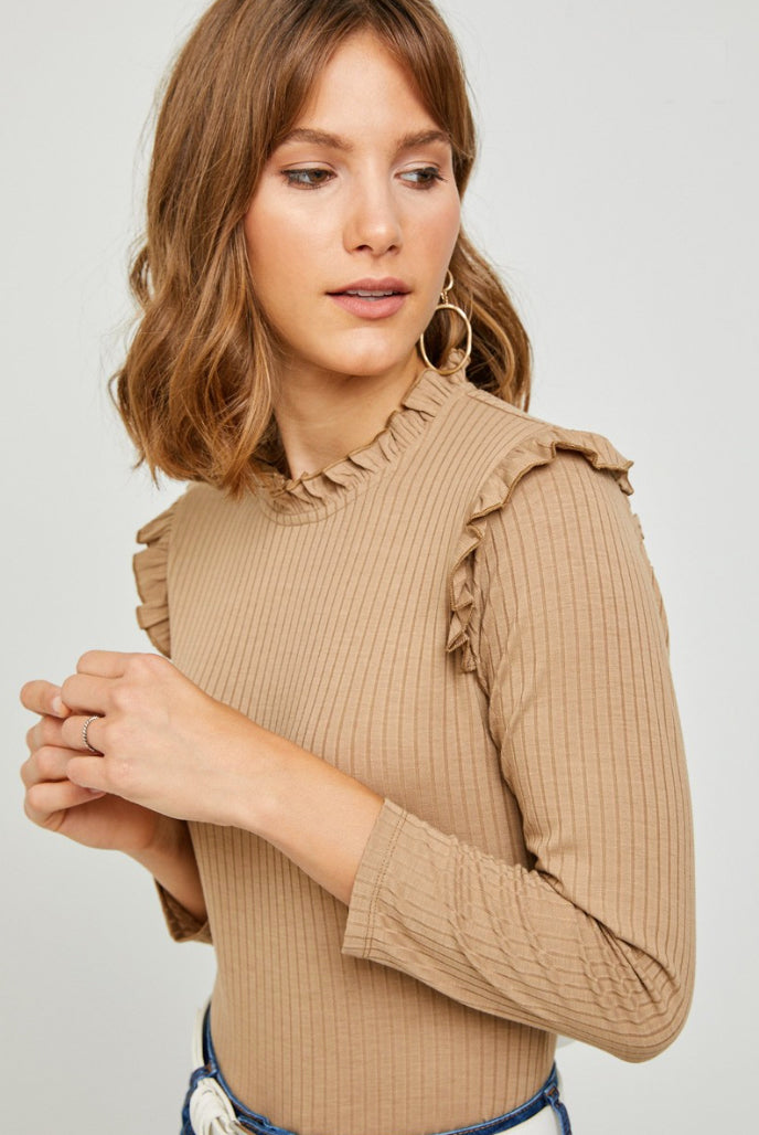 Amelia Chestnut Ruffle Top