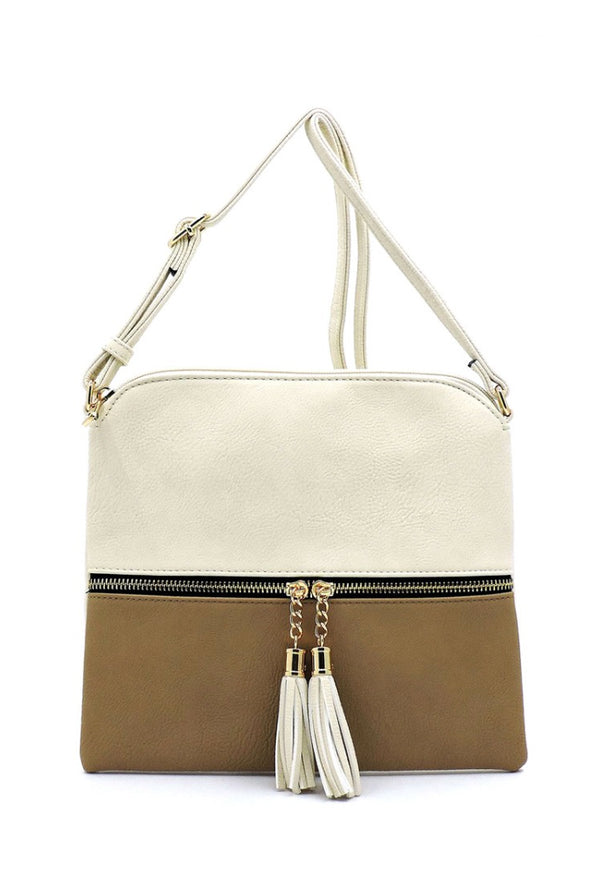 Beige + Taupe Color Block Crossbody Purse