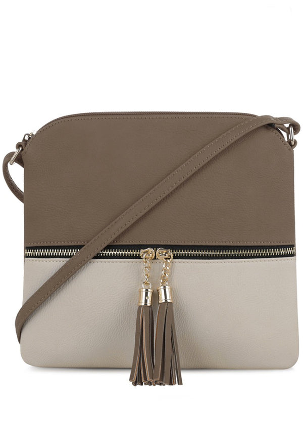 Taupe + Nude Color Block Crossbody Purse