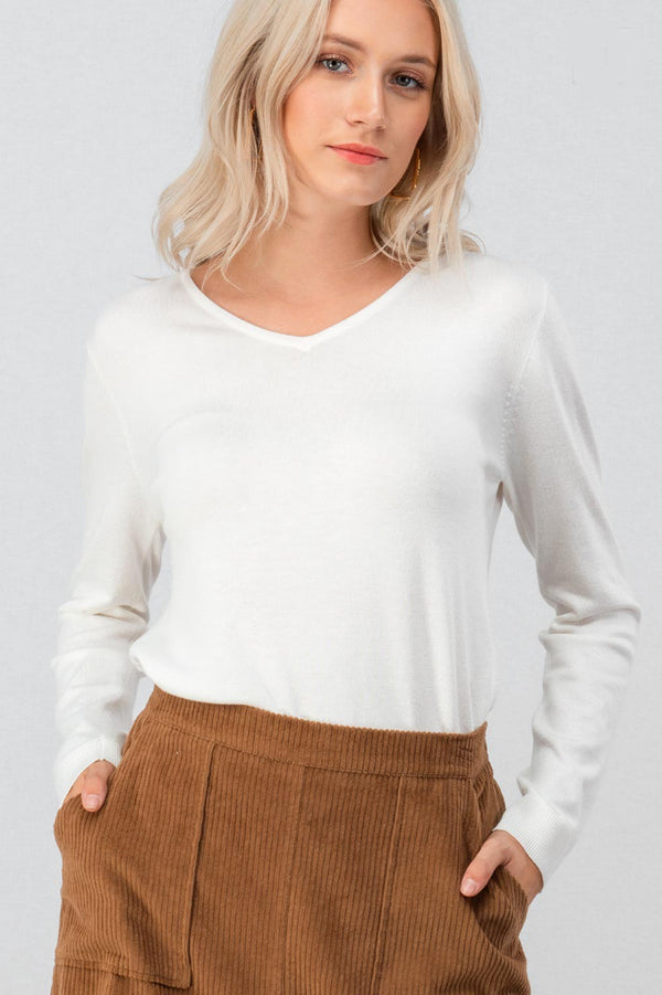 Ivory Basic Knit Top