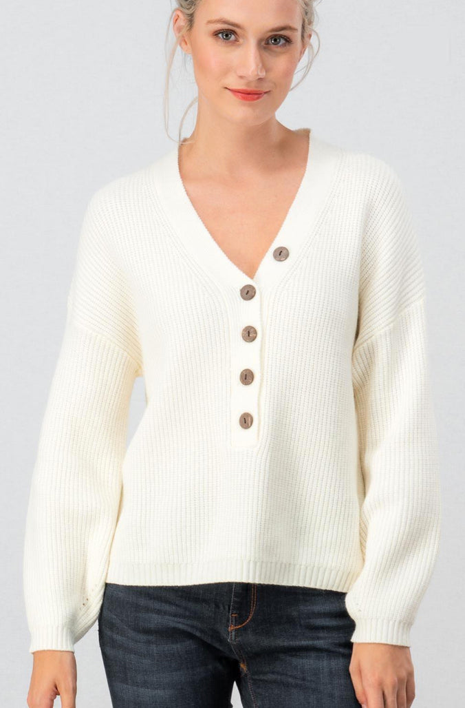 Ivory Rib Knit Sweater