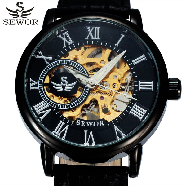 SEWOR Luxury Skeleton Mechanical Watch with Leather Strap