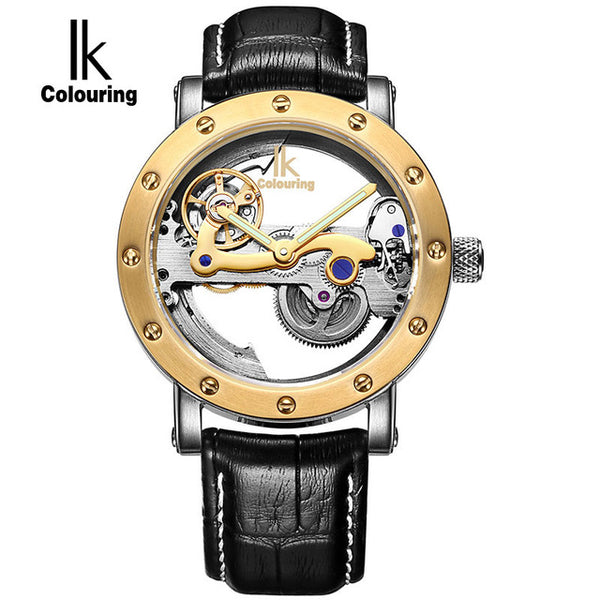 IK Colouring Hollow Skeleton Automatic Full Steel Mechanical Watch