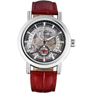 WINNER Sporty Automatic Mechanical Watch with Leather Band