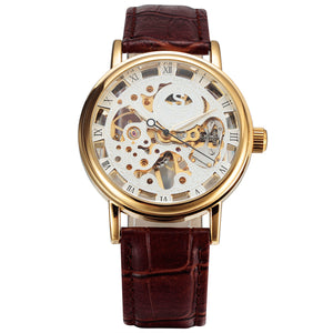 SEWOR Luxury Gold Transparent Mechanical Watch with Leather Strap