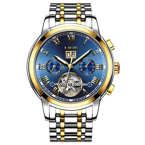 LIGE Mens Mechanical Watch Men