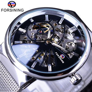 Forsining Casual Neutral Design Silver Steel Transparent Case Mechanical Watch